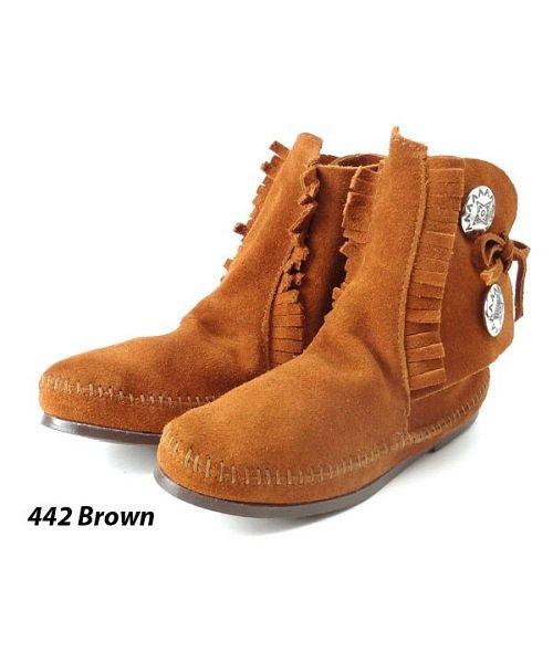 【38%OFF】 バックヤードファミリー ミネトンカ MINNETONKA Women's Two Button Boot レディース ブラウン 5H(22.0-22.5cm) 【BACKYARD FAMILY】 【セール開催中】