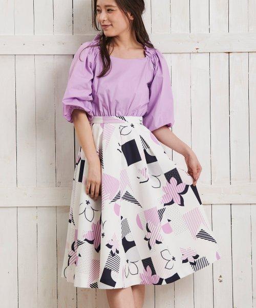 Noela(ノエラ)/オリジナル幾何柄スカート /5922015