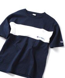 SHIPS JET BLUE/SHIPS JET BLUE×Champion: 別注 ヘビーウエイト・リラックス カラーブロック エンブロイダリーTシャツ/501540811