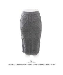 GROWINGRICH/[ボトムス スカート]ボディにフィットできれいなライン ケーブルニットタイトスカート[181233]/501542056
