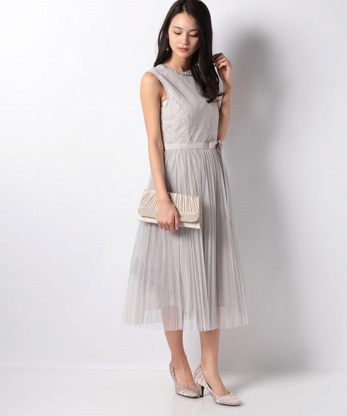 【美人百花 2月号掲載】【Apuweiser Luxe】レーシーチュールプリーツドレス
