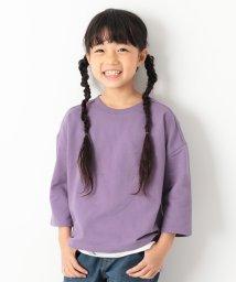 devirock/スリット入りミニ裏毛7分袖Tシャツ/501166922