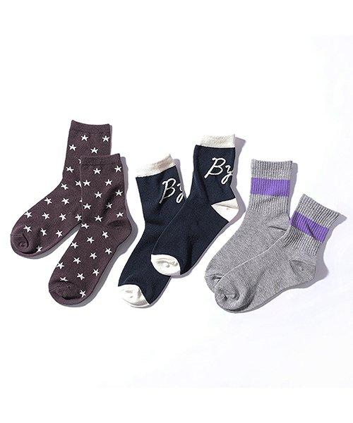 デビロッククルーソックス3足セット 靴下レディース004S(16-18cm)【devirock】