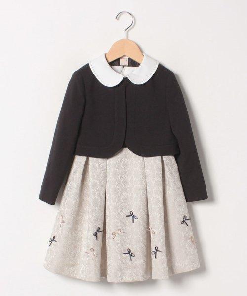 petit main(プティマイン)/ジャガードリボンワンピース+衿つきジャケットセット/9691603