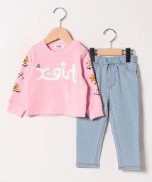 X-girl Stages/ショルダーラインキラッキーTシャツ×デニム風ミニ裏毛パンツセット/501539577