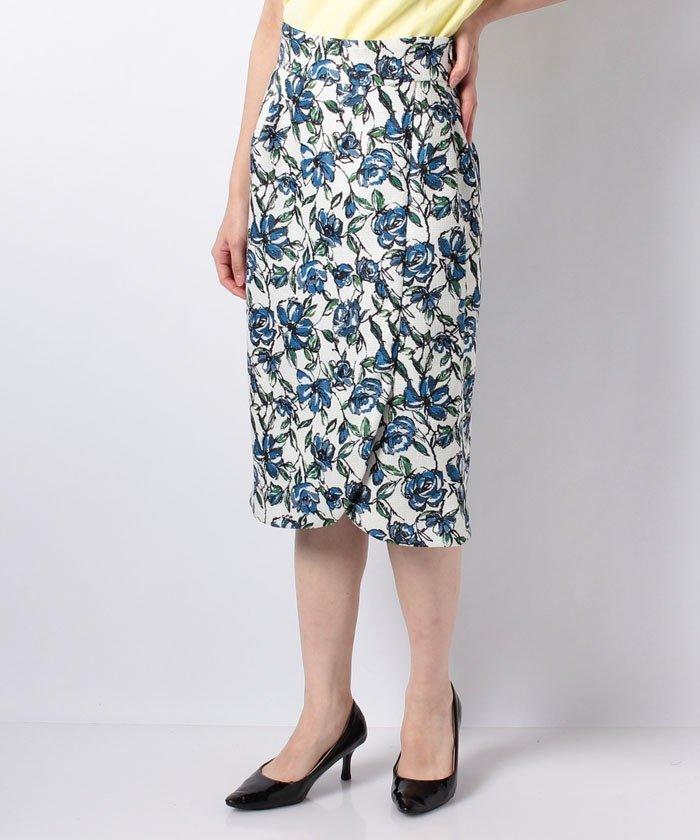 JUSGLITTY フラワープリントタイトスカート