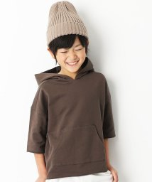 devirock/切りっぱなしミニ裏毛7分袖パーカー/501548415