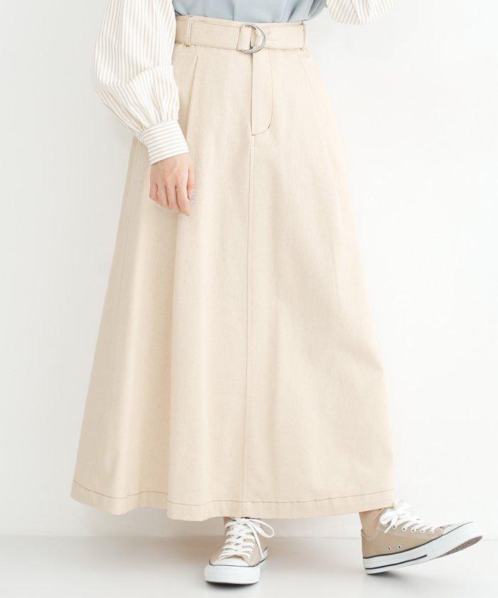 配色ステッチコットンツイルフレアスカート
