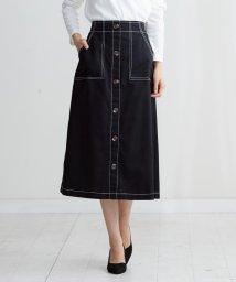 HAPPY EXP/配色ステッチ前ボタンスカート/501549938