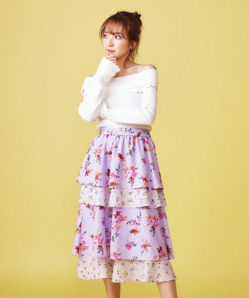 MIIA(ミーア)/オリジナルMIXフラワーティアードスカート/32912116