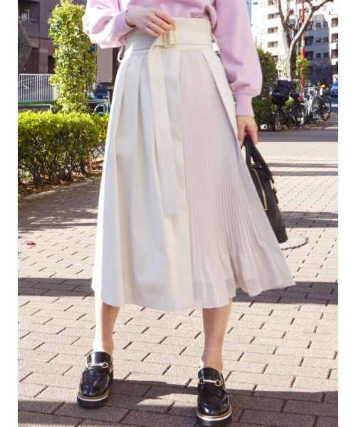 MERCURYDUO(マーキュリーデュオ)/プリーツ切替ラップ風スカート/001910802501