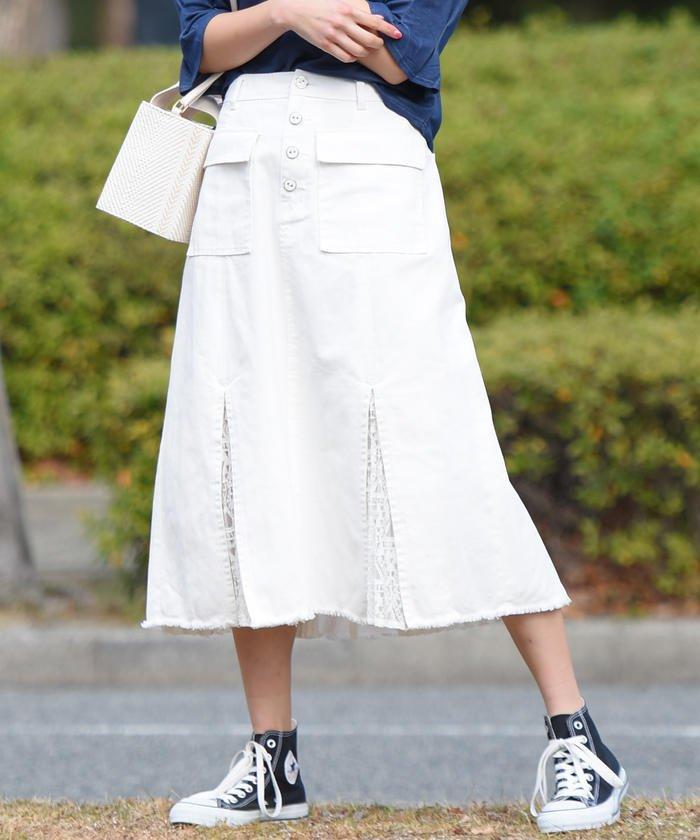 【socolla】【洗濯機OK】レースコンビデニムフレアスカート