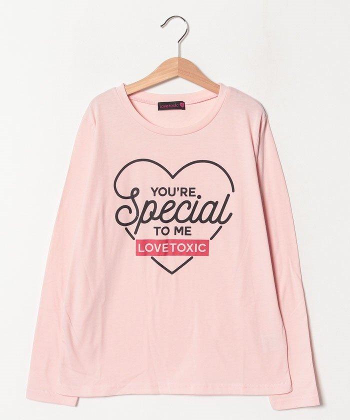 ラブトキシックハートフロッキー長袖Tシャツレディースピンク150【Lovetoxic】