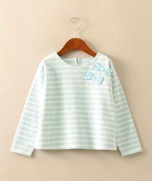 green label relaxing (Kids)/サキゾメボーダーリボンプルオーバー/501531029