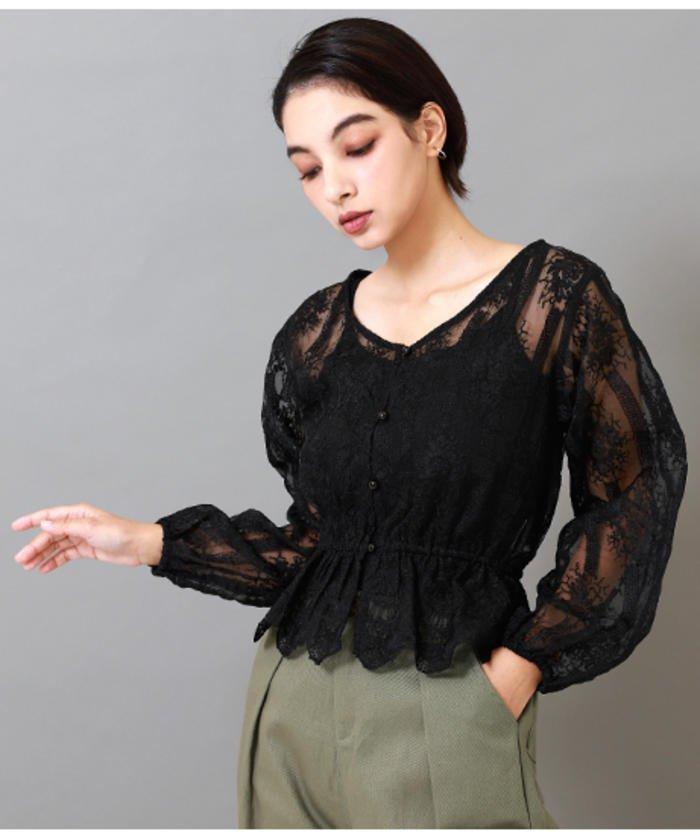 オーガンジー刺繍ボリューム袖ブラウス