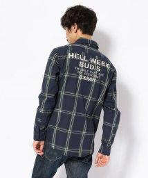 AVIREX/チェック刺繍シャツ/CHECK EMBROIDERY SHIRT HELL WEEK BUD/S/501557843