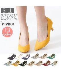 Vivian/ポインテッドトゥVカット6.5㎝キレイめパンプス/501559503