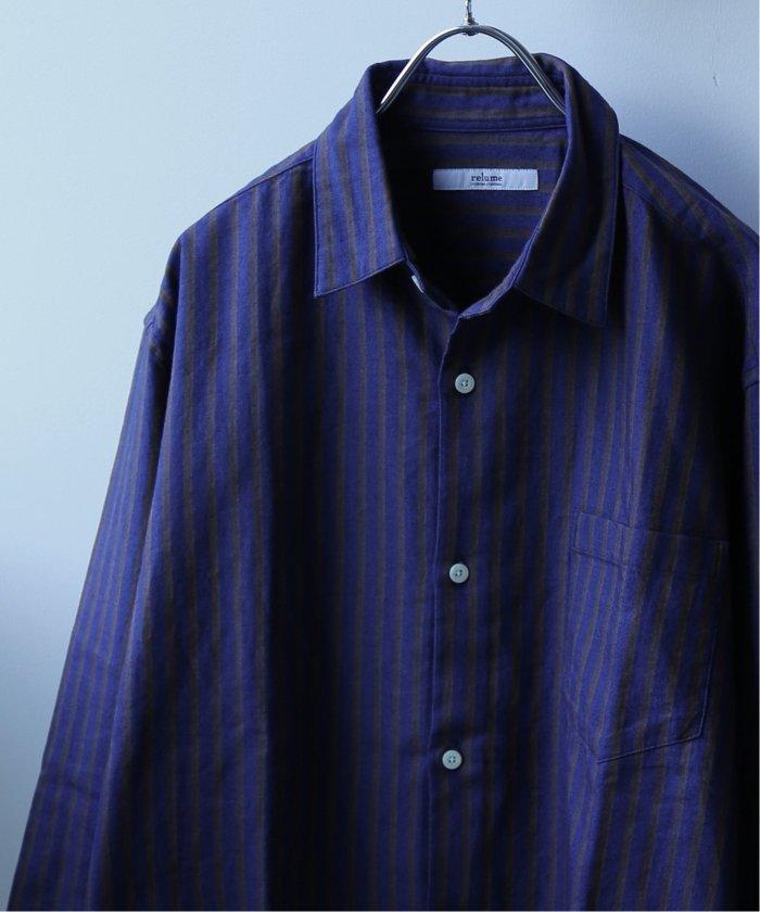 インディゴストライプ コットンリネンシャツ