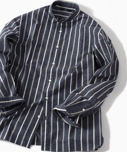 SHIPS MEN(シップス メン)/SC: コットン/リネン イージーケア加工 バンドカラー シャツ/111100308