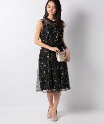 Eimy Peral/小花柄刺繍チュールサテンリボン付ドレス/501551849