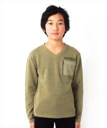 GLAZOS/ポケットデザインVネック厚手長袖Tシャツ/501567629