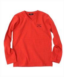 GLAZOS/ポイント刺繍Vネック厚手長袖Tシャツ/501567634
