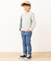 petit main/パターン切り替えワッフルTシャツ/501558491