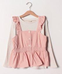 petit main/ギンガムチェックビスチェ×リブTシャツセット/501558502