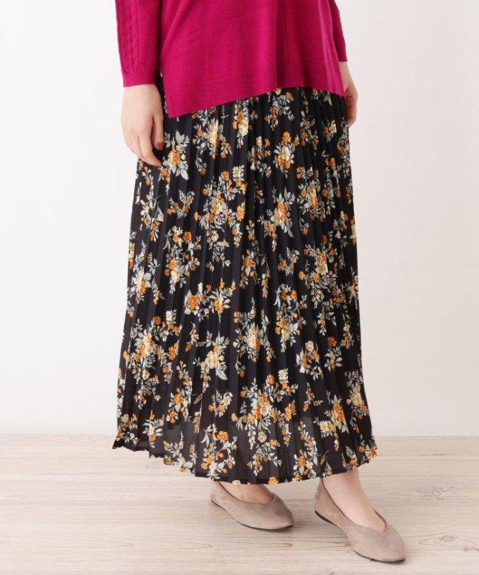 grove 花柄プリーツロングスカート