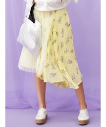 MERCURYDUO/フラワーブロッキングプリーツスカート/501465402