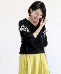 FUNNY COMPANY+/綿タッチ袖刺繍レース7分袖プルオーバー/501571236