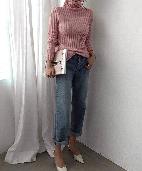 3rd Spring リブ編みタートルネックセーター