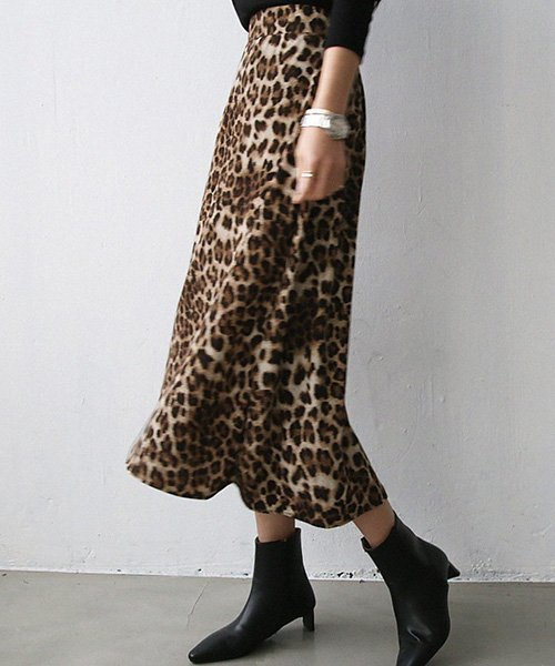 NANING9(ナンニング)レオパード柄Aラインスカート