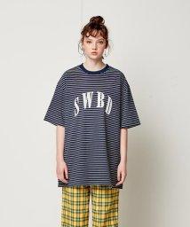 SWBD Sewing Boundaries/SWBD ロゴベーシックストライプTシャツ/501573076