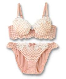fran de lingerie/Ghingham Chiffon ギンガムシフォン ブラ&ショーツセット B-Gカップ/501589907