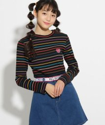 PINK-latte/マルチボーダー長袖 トップス/501591539