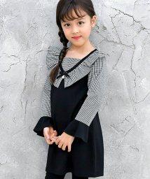子供服Bee/長袖リボン衿付きフリルギンガムチェック ワンピース/501590416