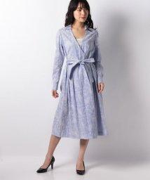 LAPINE BLANCHE/ストライプ×更紗プリントカシュクールシャツドレス/501571283