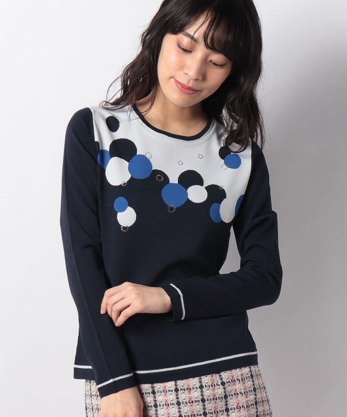 インターシャ/丸首ニットセーター