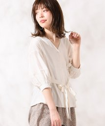NICE CLAUP OUTLET/【natural couture】柔らかリネンウエストリボンブラウス/501589259