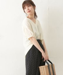 NICE CLAUP OUTLET/【natural couture】袖タックジョーゼットスキッパーシャツ/501589321