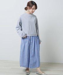 framesRayCassin/裏毛×ストライプシャツドッキングワンピース/501595956