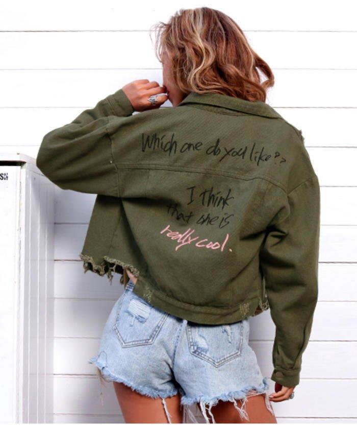 刺繍ダメージクロップドジャケット
