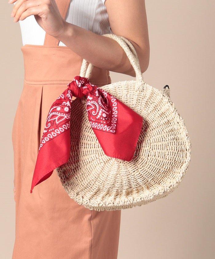 【Via Demizon ビアデミゾン】バンダナスカーフ付ラウンド型の2WAYかごバッグ