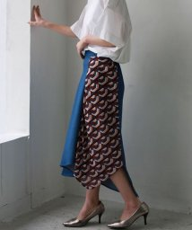 REAL CUBE/REAL CUBE スカーフ柄ドッキングデニムスカート/501599530