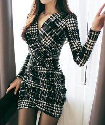 miniministore/ドレス ワンピース チェック柄 セクシー タイトワンピース 長袖 vネック ミニワンピ/501599871