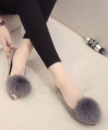miniministore/ファーパンプス レディース ローヒール ぺたんこ靴 美脚 履きやすい/501599874