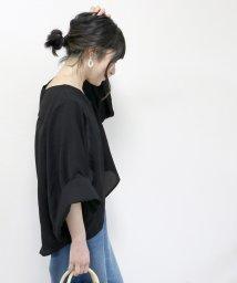 FUNNY COMPANY+/袖デザインテールカットVネックブラウス/501597099