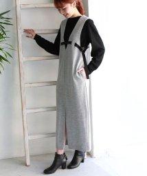 REAL CUBE/CLOCHE 日本製リボンベルトデザインウール100%ジャンパースカート/501602340