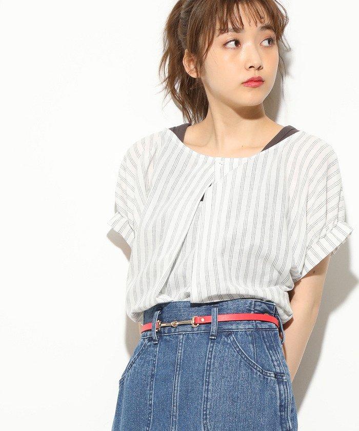 【2WAY】フレンチリネン混タックブラウス